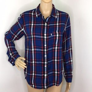 Levi's Red & Blue Plaid Long Sleeve Top